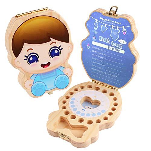 Caja de dientes de dibujos animados Impresión de los dientes Cajas de almacenamiento de memoria Organizador para niños niñas Caja de recuerdo de dientes de madera para bebés, Niños dientes de leche
