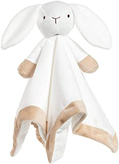 Baby Unisex Baby White Bunny Security Blanket Buddy Nursery Bed Blankets Stuffed Plush Cuddle Newborn Blanket (White Bunn...