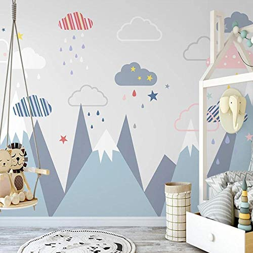 Msrahves posters para pared Azul picos de las montañas cielo estrellado nubes 400X280CM Fotomural Vinilo de Pared Paredes Decoración Hogar fotomurale 3d fotomurale da parete fotomurales decorativos pa