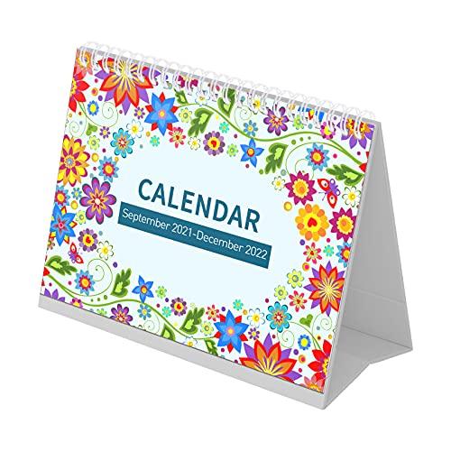 Funien Calendario de escritorio,Calendario de escritorio 2021-2022, planificador de 16 calendarios mensuales de 9.0 x 7.7 pulgadas, encuadernado con dos cables con páginas de notas, fechas julianas