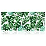 iLeadon Desk Pad Protector, Large Gaming Mouse Pad 35.1 x 15.75-inch 2.5mm Thick, Cute Desk Decor, Office Desk Writing Pad with Non-Slip Rubber Base for Home Office Work, Summer Palm Leaves
