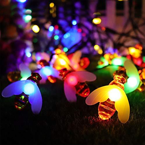 Azuoyi Solarlamp, voor de tuin, stroomvoorziening schattig, honing, led, lichtsnoer, bij, tuin, buiten, hek, patio, kerstverlichting