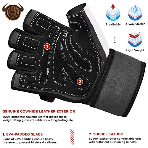 Authentische RDX Kuh haut leder Gewicht heben Gym Handschuhe Körper Fitness, Gr.M - 2