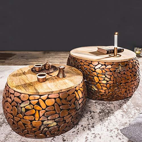 cagü: 2er Set Couchtische [RAVENNA] Kupfer aus Mangoholz mit Metallplättchen im Mosaik-Design handgefertigt 65cm/53cm Durchmesser