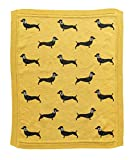 Creative Co-Op Cotton Knit Black Dachshund Dog Baby Blanket, Chartreuse