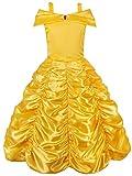 JerrisApparel Mädchen Belle Kostüm Prinzessin Kleid Drop Shoulder Cosplay Kostüm (Gelb, 4-5...