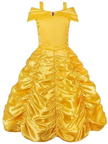 JerrisApparel Principessa Belle Carnevali Costume Vestito da Ragazza (Giallo, 4 Anni)