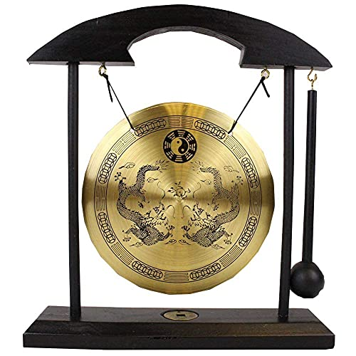 Adornos gong mesa Zen, dragón con símbolos Taiji que hace un sonido claro para un buen Feng Shui, escritorio meditación, campana, decoración del hogar, regalo bendición felicitación inauguración la