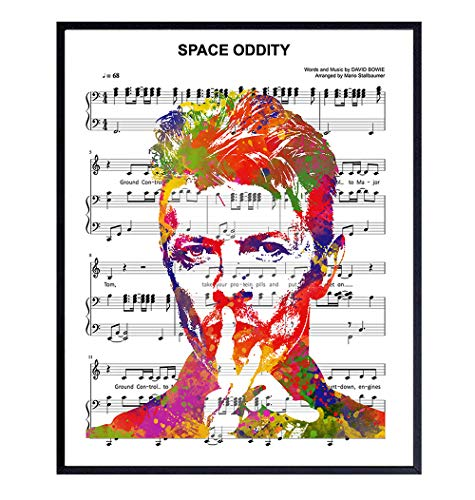 David Bowie Poster- 8x10 Housewarming Gift for Ziggy Stardust, Famous Iconic Musician or Rock Music Fan - Wall Art, Home Decor for Living Room, Bedroom, Dorm, Apartment - UNFRAMED Picture Print