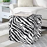 Adeco Fabric Upholstered Cube Ottoman Small Square Ottoman Footstool, Zebra Pattren, for Living Room Bedroom Home Office Business