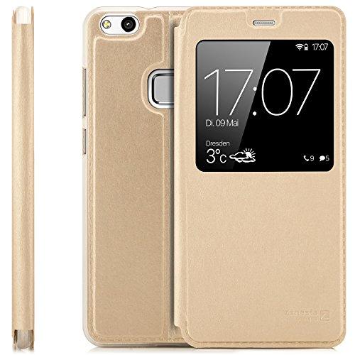 Zanasta Designs Custodia Compatibile con Huawei P10 Lite (WAS-LX1A) Cover Flip Wallet Case Copertura con Finestra Vista, Protezione della Fotocamera | Oro