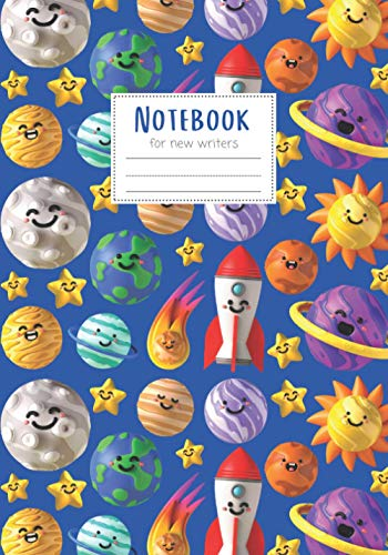 Notebook: Maggie Squeak Kids - Cute Space Astronaut Primary Notebook with Skip Line Ruling