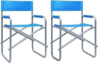 Festnight Sillas de Director 2 Unidades Acero Sillas Plegables Sillas Jardin Exterior Azul 48 x 57 x 79 cm