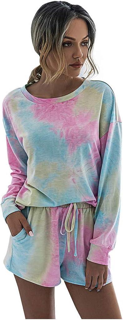 Women 2PC Tie-Dye Sweatsuit Set Long Sleeve Pullover Drawstring Sweatpant Set