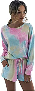 MOMFEI Women 2 Piece Soft Tie Dye Sweatsuit Set Long Sleeve Pullover and Drawstring Sports Shorts Sets