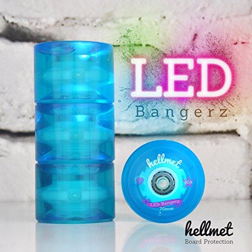 Hellmet LED Bangerz - LED Rollen Longboard - LED Longboard Wheels - neu - Aqua Blau