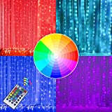 DAYLIGHTIR Fairy Window Curtain Lights, USB Remote Control 16 Color Changing String Lights for Bedroom Decor, Valentine's Day, Christmas, Weddings, Birthday, Party, Halloween