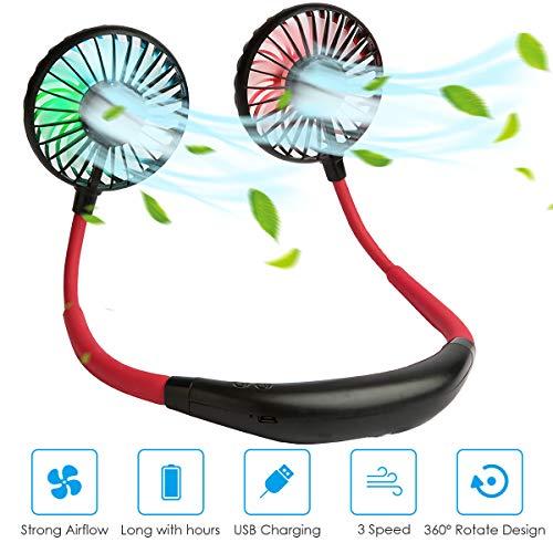 Agedate Tragbarer USB Ventilator Nackenbügel Ventilator Mini Lüfter mit LED Licht, 3-Speed Betrieb, 360 Grad Drehung, Wiederaufladbar Leise Neckband-Lüfter USB-Ventilatoren - Schwarz Rot