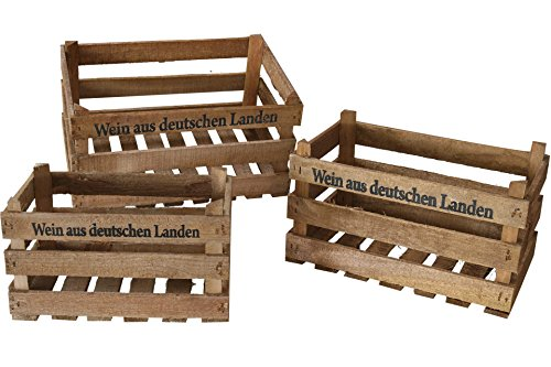 Posten Börse Deko Holzkisten 3er Set Wein aus Deutschen Landen rustikal