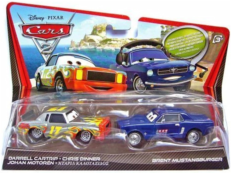 más orden Mattel Disney     Pixar CocheS 2 Movie Brent Mustangburger & Darrell Cochetrip - 2 Coches by Mattel  conveniente