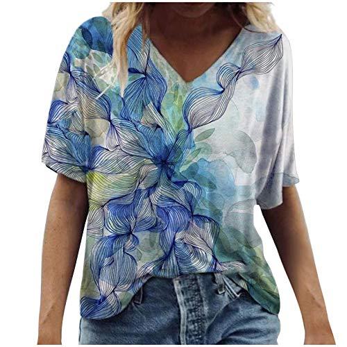 FMYONF Camisetas de mujer de manga corta, estilo informal, estilo vintage, para verano, blusas y túnicas, tallas grandes, estampado de flores, cuello redondo (azul, XXL)