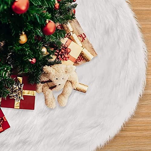 Falda de árbol de Navidad de 48 pulgadas Falda de árbol de Navidad de felpa blanca suave para árbol de Navidad Decoraciones para fiestas navideñas Estilo romántico Falda de árbol de Navidad de piel