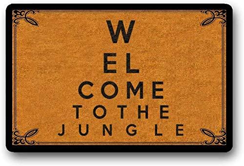 """LHM - Felpudo con texto en inglés """"Welcome to The Jungle"""", texto en inglés """"Welcome to The Jungle"""" (40 x 60 cm)"""
