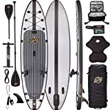 11'6 Inflatable Paddle Board - Hippocamp - Carbon Fiber + Grey Fishing...