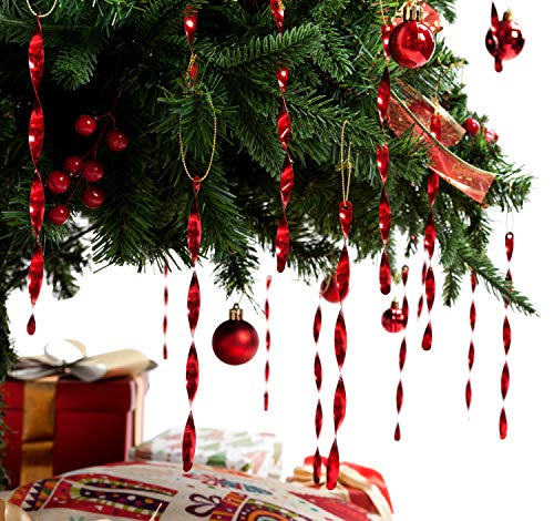 AMS Christmas Tree Ornaments 7 Aluminum Spiral Strip Hangings - 24pcs Ornaments Box Set - Icicles Twisted Decorations for Any Holiday Party Wedding Accessories (Red)