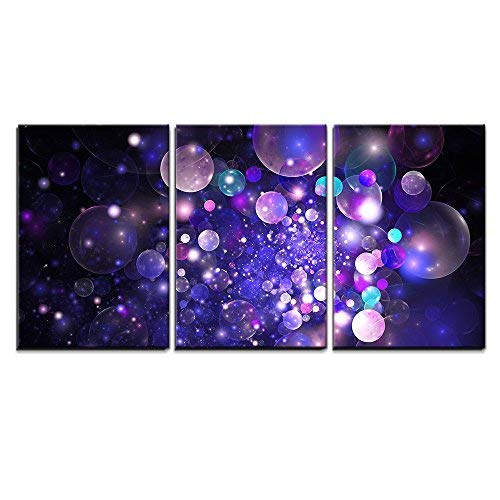 "wall26 - 3 Piece Canvas Wall Art - Abstract Glowing Purple and Blue Bubbles on Black Background. Fractal Art - Modern Home Decor Stretched and Framed Ready to Hang - 24""x36""x3 Panels"