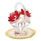GARNECK Cesta de Flores de Rosa de Cristal Rojo Figuras de Cristal Coleccionables Adornos para Decoración del Hogar Decoración de Mesa Adorno de Centro de Mesa