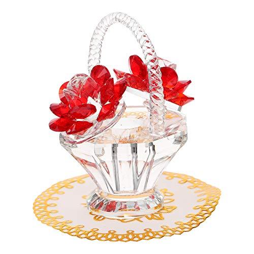GARNECK Cesta de Flores de Rosa de Cristal Rojo Figuras de Cristal...