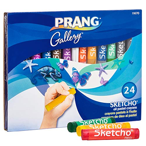 Prang Sketcho Oil Crayons, Round Sticks, 2.5 x 0.5 Inches, 24-Color Set (11670)