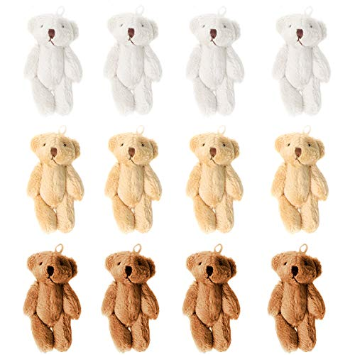 KUDES 12Pcs 6CM Mini Joint Teddy Bear Stuffed Animal Plush Toys Wedding Gift Box Doll Toy for Birthday Cake Wedding Decorations Party Favors Supplies Bag Charm DIY Accessory (12 PCS Bear)