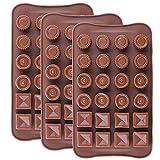 IHUIXINHE Mini Silicone Moule à Chocolat, 3 Formes Type Boite, Lot de 3 pralinesà Chocolat Forme, Moule à pralines en Silicone