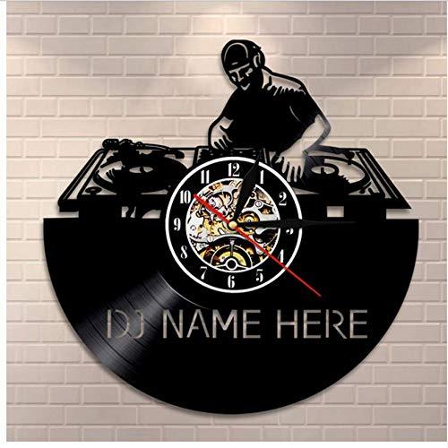 Djkaa 1 stuk personaliseerbaar DJ Name Ici Vintage 30,5 cm vinyl record wandklok zwart klassiek oude CD Wall Moderne Art Wand