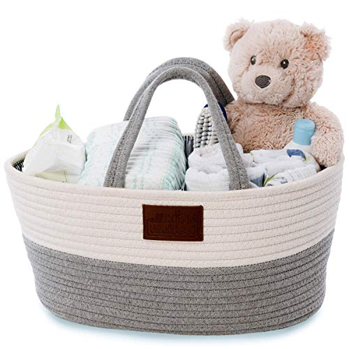 Organizador de pañales para bebé, cesta de pañales, bolsa de pañales para pañales y utensilios de cambiador, bolsa de la compra portátil, cesta de almacenamiento de 100% lino de algodón