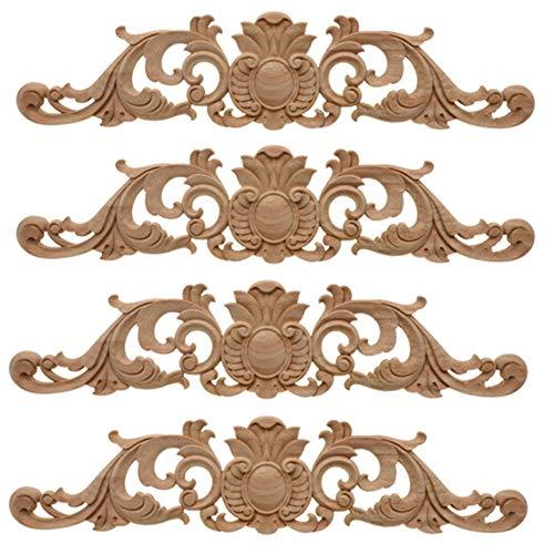 Amasawa 4 Piezas Aplique Decorativo En Madera Tallada, Incrustaciones De Madera Tallada Larga, Decoración del Hogar Europeo