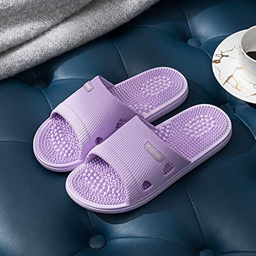 JFHZC Zapatos de Baño Antideslizante,Sandalias y Zapatillas de Fondo Suave Antideslizantes para el baño del hogar para Hombres, Zapatillas de Masaje de Hotel para Interiores Unisex-Purple_35 / 36EU