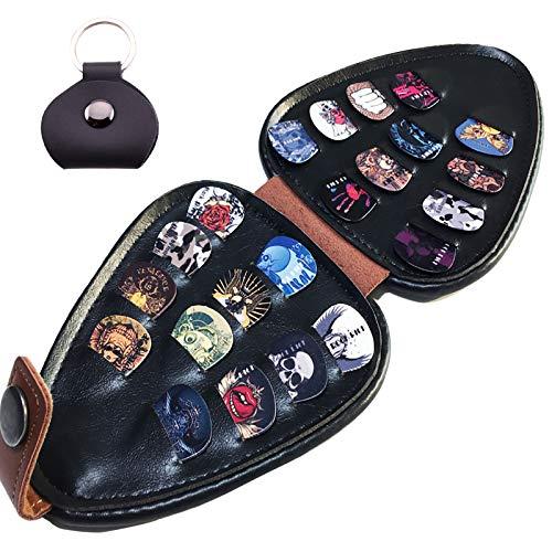 Soporte para púa de guitarra con 22 púas (diferentes patrones y grosores) puede acomodar la caja de púas de varios grosores. La capa exterior de cuero sintético es marrón, la capa interior es negra.