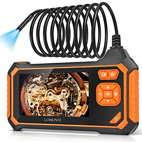 """Borescope Inspection Camera, Industrial Endoscope Camera HD 5.5mm 1080P 4.3"""" LCD Screen w/ IP67 Waterproof Snake Camera 6 LED Lights, Sewer Camera with Semi-Rigid Cable, Emergency Light -16.5FT"""