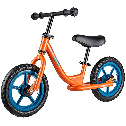 Albott 12 Sport Balance Bike - Toddler Training Bike w/Adjustable Height Seat & Handlebar, Push Bikes for Toddlers No Pedal Scooter Bicycle with Footrest for Age 18 Months 2 3 4 5(Orange)