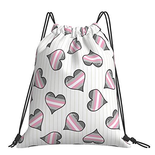 Cute demigirl heart Drawstring Bags Fashion Sport Travel Backpack Reusable String Bag