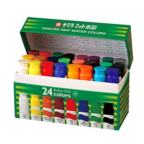 24 Color Matte Watercolor (12ml) Poly in Tube (Japan Import)