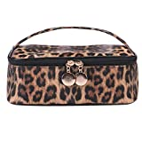Beauty case da donna in PU, con stampa leopardata, per trucchi, multifunzione, impermeabile, capienza elevata