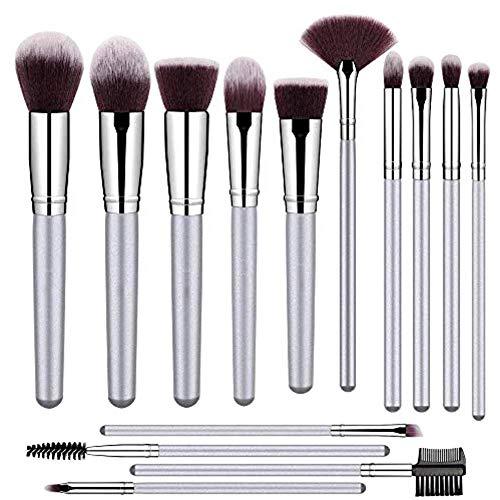 Brochas de maquillaje profesional 14 PCS para cara y ojos de alta calidad | Makeup brushes set plateado…