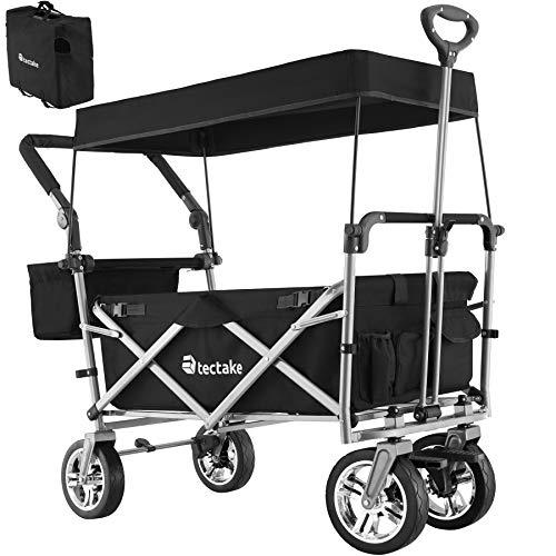 TecTake 800800 Faltbarer Bollerwagen mit Dach, viele Taschen, klappbarer Handwagen mit Bremsen, Outdoor Transportkarre, bis 80 kg belastbar - Diverse Farben - (Schwarz | Nr. 403549)