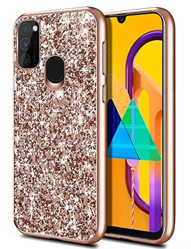 Coolden für Samsung Galaxy M30s/M21 Hülle Glitzer Handyhülle Mädchen Bling Sparkle Stoßfest Samsung M21 Hülle Schlank TPU Bumper Schutzhülle für Samsung M30s (Rose Gold)