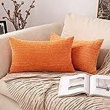 MIULEE 2 Piezas Funda de Cojines Poliéster Elegante Suave y Duradero Funda de Almohada Cómoda para Sofá Cama Decoracion Modernas Preciosas para Sillas Dormitorio Habitacion 30x50cm Naranja