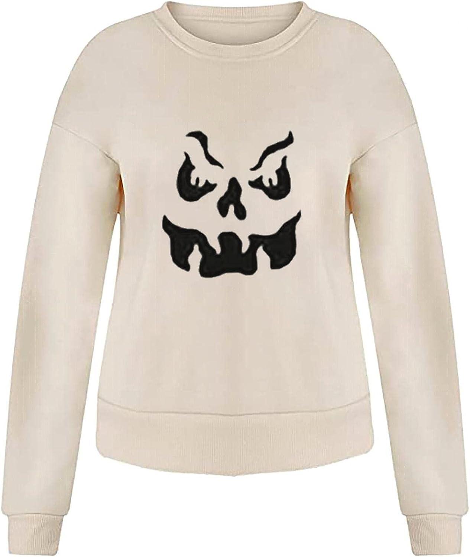 Halloween Women Sweatshirts Cute Pumpkin Ghost Black Cat Bat Print Casual Sweaters Long Sleeve Crewneck Pullover Sweatshirts